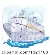 Clipart Of A Cruise Ship With Clouds Royalty Free Vector Illustration