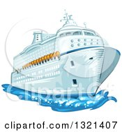 Clipart Of A Cruise Ship And Water Royalty Free Vector Illustration