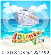 Clipart Of A Cruise Ship And Beach With Text And Sailboats In The Background Royalty Free Vector Illustration