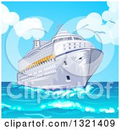 Clipart Of A Cruise Ship And Blue Sky Royalty Free Vector Illustration