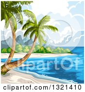 Clipart Of A Tropical Beach With Palm Trees Royalty Free Vector Illustration