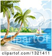 Clipart Of A Tropical Beach With A Sailboat And Palm Trees Royalty Free Vector Illustration