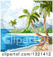 Clipart Of A Chair On A Tropical Beach With Palm Trees Royalty Free Vector Illustration