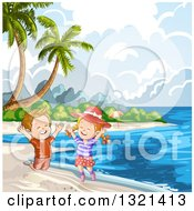 Clipart Of Happy Children Jumping On A Tropical Beach With Palm Trees Royalty Free Vector Illustration