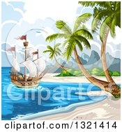 Clipart Of A Ship At A Tropical Beach With Palm Trees Royalty Free Vector Illustration