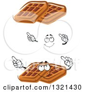 Clipart Of A Cartoon Face Hands And Waffles Royalty Free Vector Illustration
