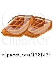 Clipart Of Cartoon Waffles Royalty Free Vector Illustration