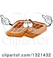 Clipart Of A Cartoon Waffle Character Holding Up Fingers Royalty Free Vector Illustration