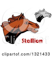 Clipart Of Brown And Grayscale Tough Stallion Horse Heads Royalty Free Vector Illustration