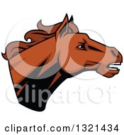 Clipart Of A Brown Tough Stallion Horse Head Royalty Free Vector Illustration