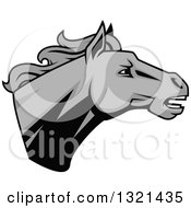 Clipart Of A Grayscale Tough Stallion Horse Head Royalty Free Vector Illustration