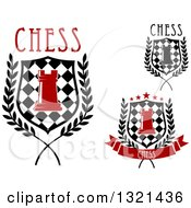 Clipart Of Chess Rook Pieces And Checker Board Designs With Text Royalty Free Vector Illustration