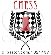 Clipart Of A Red Chess Rook Piece In A Checkered Shield And Wreath With Text Royalty Free Vector Illustration