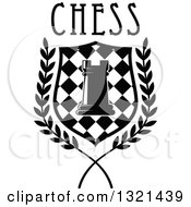 Clipart Of A Black And White Chess Rook Piece In A Checkered Shield And Wreath With Text Royalty Free Vector Illustration