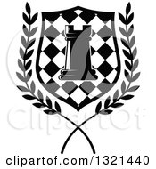 Clipart Of A Black And White Chess Rook Piece In A Checkered Shield And Wreath Royalty Free Vector Illustration