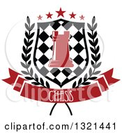 Clipart Of A Red Chess Rook Piece In A Checkered Shield With Stars And A Wreath Over A Text Banner Royalty Free Vector Illustration