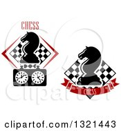 Clipart Of Chess Knight Horse Head Pieces Over Checker Boards With Text Royalty Free Vector Illustration