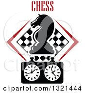 Clipart Of A Chess Knight Horse Head Piece With Text Over A Timer And Checker Board Royalty Free Vector Illustration