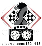 Clipart Of A Chess Knight Horse Head Piece Over A Timer And Checker Board Royalty Free Vector Illustration