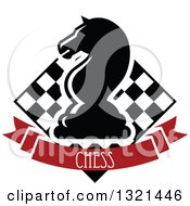 Clipart Of A Chess Knight Horse Head Piece Over A Checker Board And Red Text Banner Royalty Free Vector Illustration