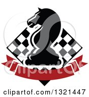 Clipart Of A Chess Knight Horse Head Piece Over A Checker Board And Blank Red Banner Royalty Free Vector Illustration by Vector Tradition SM