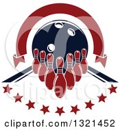 Clipart Of Blank Red Arch Ribbon Banner Over A Bowling Ball Pins And Stars In An Alley Royalty Free Vector Illustration by Seamartini Graphics