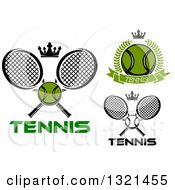 Clipart Of Tennis Balls Crowns Wreaths And Rackets Royalty Free Vector Illustration
