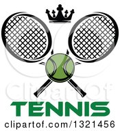 Clipart Of A Green Tennis Ball And Crown With Crossed Rackets Over Text Royalty Free Vector Illustration