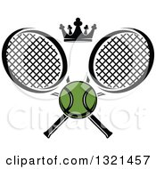 Clipart Of A Green Tennis Ball And Crown With Crossed Rackets Royalty Free Vector Illustration