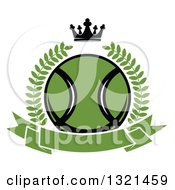 Clipart Of A Green Tennis Ball In A Wreath Over A Blank Banner With A Crown Royalty Free Vector Illustration