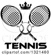 Clipart Of A Black And White Tennis Ball And Crown With Crossed Rackets Over Text Royalty Free Vector Illustration