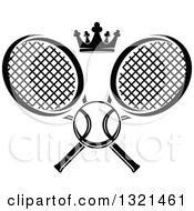 Clipart Of A Black And White Tennis Ball And Crown With Crossed Rackets Royalty Free Vector Illustration