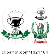 Clipart Of Championship Trophies With Cue Sticks Stars And Eight Balls Over Banners Royalty Free Vector Illustration