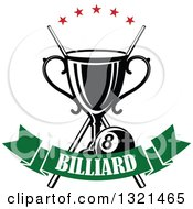 Clipart Of A Championship Trophy With Crossed Cue Sticks Stars And An Eight Ball Over A Green Text Banner Royalty Free Vector Illustration