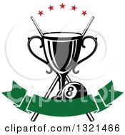 Clipart Of A Championship Trophy With Crossed Cue Sticks Stars And An Eight Ball Over A Blank Green Banner Royalty Free Vector Illustration