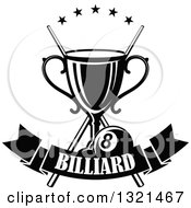 Clipart Of A Black And White Championship Trophy With Crossed Cue Sticks Stars And An Eight Ball Over A Text Banner Royalty Free Vector Illustration
