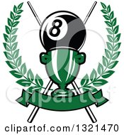 Clipart Of A Championship Trophy With Crossed Cue Sticks And A Giant Eight Ball In A Wreath Over A Blank Banner Royalty Free Vector Illustration