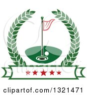 Clipart Of A Golf Ball Flag And Hole In A Wreath Over A Star Banner Royalty Free Vector Illustration by Vector Tradition SM