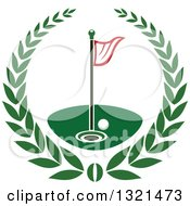 Clipart Of A Golf Ball Flag And Hole In A Wreath Royalty Free Vector Illustration by Vector Tradition SM
