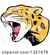 Clipart Of A Roaring Angry Jaguar Or Leopard Big Cat Head Royalty Free Vector Illustration