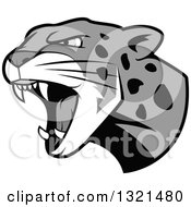 Clipart Of A Roaring Grayscale Angry Jaguar Or Leopard Big Cat Head Royalty Free Vector Illustration by Vector Tradition SM