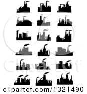 Clipart Of Black Silhouetted Refinery Factories 2 Royalty Free Vector Illustration