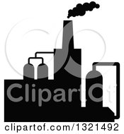 Clipart Of A Black Silhouetted Refinery Factory 28 Royalty Free Vector Illustration