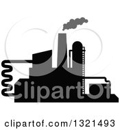 Clipart Of A Black Silhouetted Refinery Factory 29 Royalty Free Vector Illustration