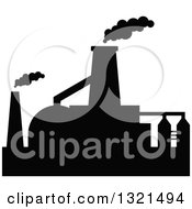 Clipart Of A Black Silhouetted Refinery Factory 30 Royalty Free Vector Illustration