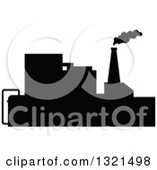 Clipart Of A Black Silhouetted Refinery Factory 34 Royalty Free Vector Illustration