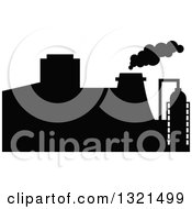Clipart Of A Black Silhouetted Refinery Factory 35 Royalty Free Vector Illustration