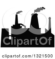 Clipart Of A Black Silhouetted Refinery Factory 36 Royalty Free Vector Illustration