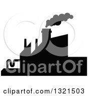 Clipart Of A Black Silhouetted Refinery Factory 22 Royalty Free Vector Illustration