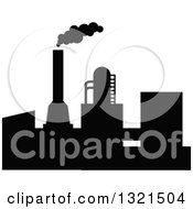 Clipart Of A Black Silhouetted Refinery Factory 23 Royalty Free Vector Illustration